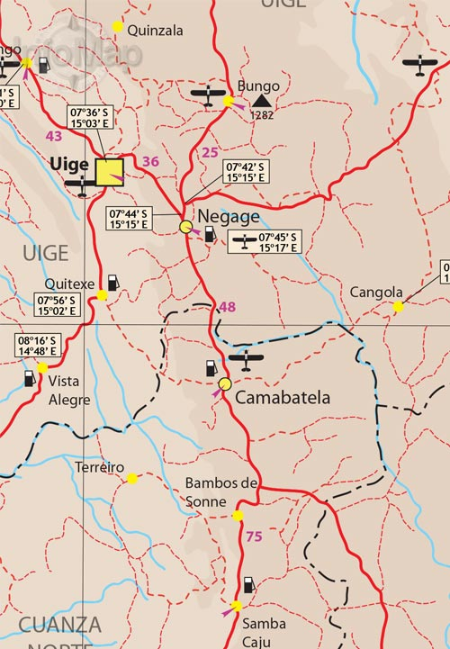 Angola Map Road Map With GPS Coordinates - Angola road map