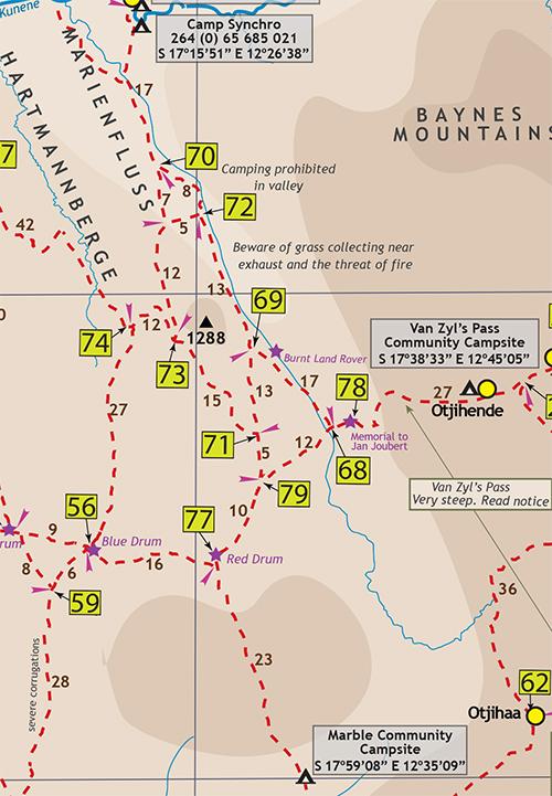 Kaokoland North Western Namibia Map Digital PDF GPS Coordinates