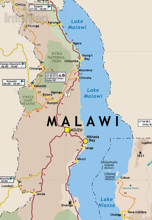 Mozambique, Malawi Map | Road Map with GPS Coordinates