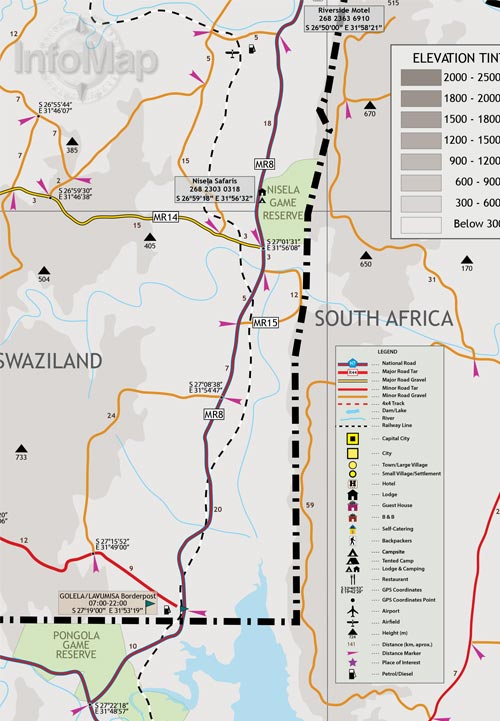 Swaziland Map Paper Road Map With GPS Coordinates - Swaziland map
