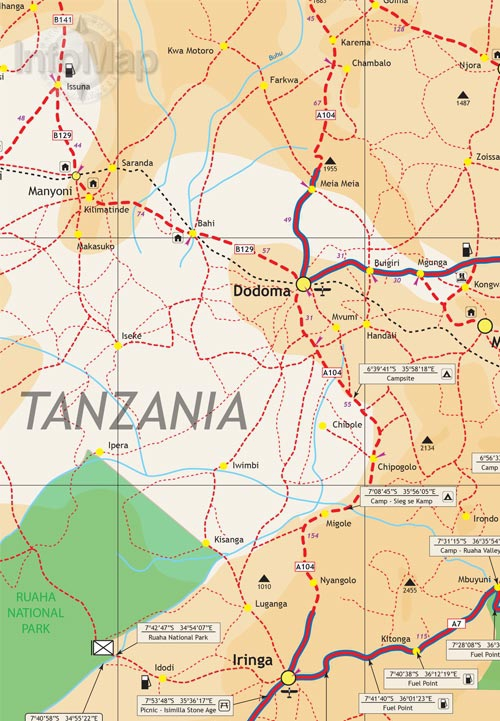 Tanzania Map Paper Road Map with GPS Coordinates