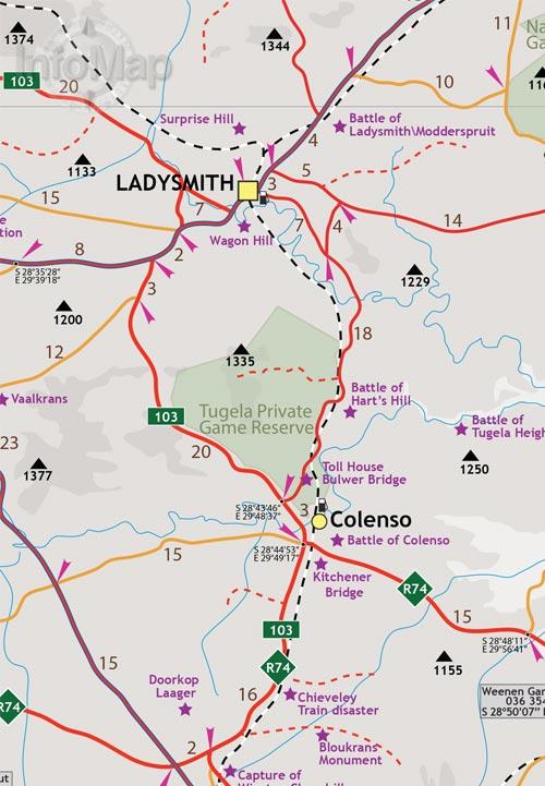 Drakensberg Free State Paper Road Map Gps Coordinates