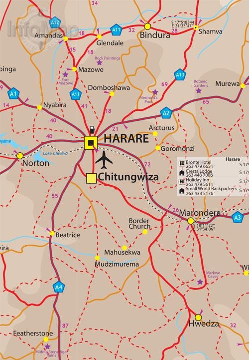 Zimbabwe Map Digital PDF with GPS Coordinates