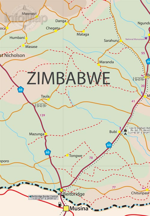 Zimbabwe Map | Paper Road Map with GPS Coordinates